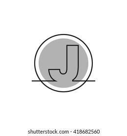 Outline letter J for logo design your company. Vector illustrations.