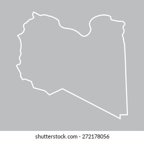 outline of Libya map