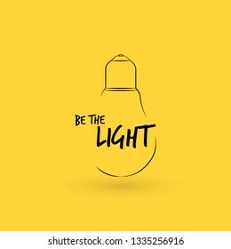 Outline light bulb. Linear idea quote. Creative note, message qoute