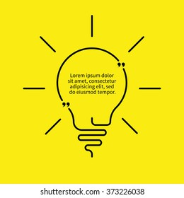 Outline light bulb. Linear idea quote. Creative note, message, qoute. Vector thin line design element.