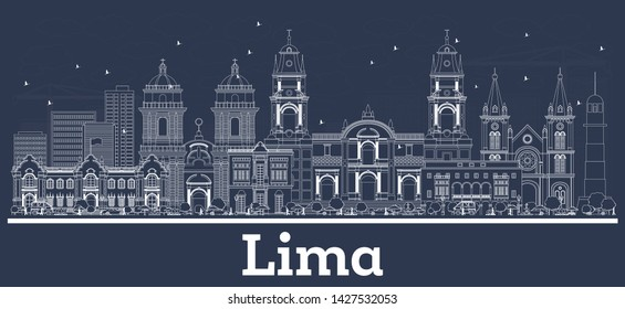 Outline Lima Peru City Skyline with White Buildings. Vector Illustration. Business Travel and Tourism Concept with Historic Architecture. Lima Cityscape with Landmarks.