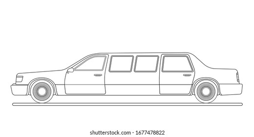 Outline limousine without fill on a white background in vector