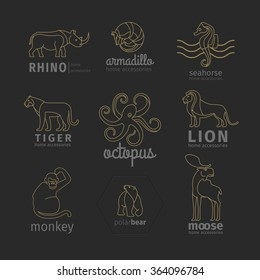 Outline linear animals vector logos, emblems and labels set