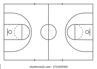 Outline of lines on basketball court isolated of white background. Top view. Vector stock illustration.