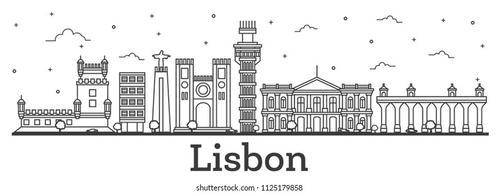 Outline Lisbon Portugal City Skyline with Historic Buildings Isolated on White. Vector Illustration. Lisbon Cityscape with Landmarks.