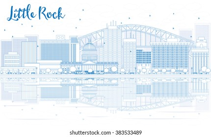 Outline Little Rock skyline with blue buildings and reflections. Vector illustration. Business travel and tourism concept with place for text. Image for presentation, banner, placard and web site.