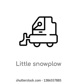 outline little snowplow vector icon. isolated black simple line element illustration from construction concept. editable vector stroke little snowplow icon on white background
