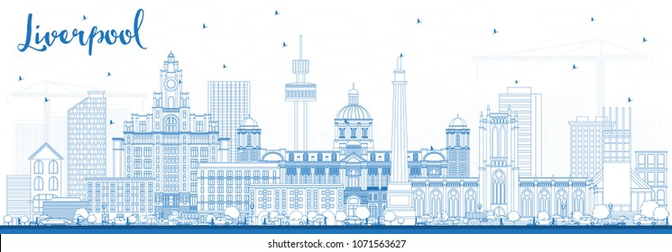 Outline Liverpool Skyline with Blue Buildings. Vector Illustration. Business Travel and Tourism Concept with Historic Architecture. Liverpool Cityscape with Landmarks.