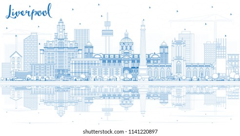 Outline Liverpool Skyline with Blue Buildings and Reflections. Vector Illustration. Business Travel and Tourism Concept with Historic Architecture. Liverpool Cityscape with Landmarks.