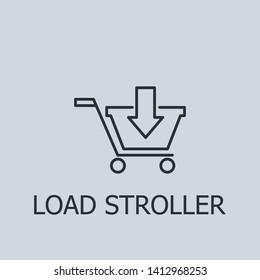 Outline load stroller vector icon. Load stroller illustration for web, mobile apps, design. Load stroller vector symbol.