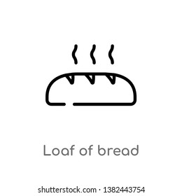 outline loaf of bread vector icon. isolated black simple line element illustration from food concept. editable vector stroke loaf of bread icon on white background