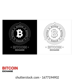 Outline logo of the Bitcoin exchange. The letter B in a circle with arrows. Vector illustration.