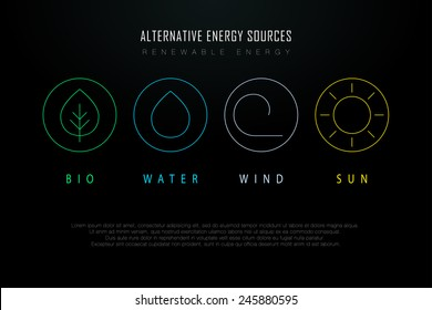 Outline logos with alternative energy sources. Copyspace. Eco-friendly energy source. Renewable energy source. Energy conservation. Energy efficiency. Energy saving. Eco logo. Energy thin line logo.