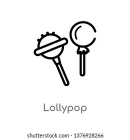 outline lollypop vector icon. isolated black simple line element illustration from food concept. editable vector stroke lollypop icon on white background