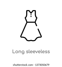 outline long sleeveless dress vector icon. isolated black simple line element illustration from clothes concept. editable vector stroke long sleeveless dress icon on white background