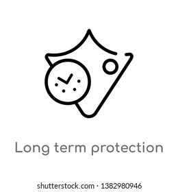 outline long term protection vector icon. isolated black simple line element illustration from insurance concept. editable vector stroke long term protection icon on white background