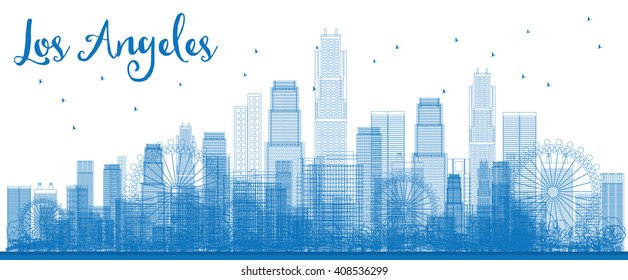 Outline Los Angeles Skyline with Blue Buildings. Vector Illustration. Business travel and tourism concept with modern buildings. Image for presentation, banner, placard and web site.