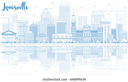Outline Louisville Skyline with Blue Buildings and Reflections. Vector Illustration. Business Travel and Tourism Concept with Modern Architecture. Image for Presentation Banner Placard and Web Site.