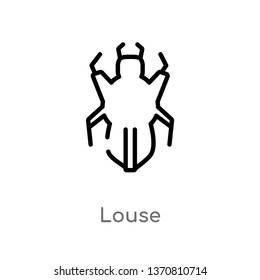 outline louse vector icon. isolated black simple line element illustration from animals concept. editable vector stroke louse icon on white background