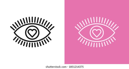 Outline love eye icon with editable stroke. Linear eye sign with heart iris, healthy vision. Health care about sight, ophthalmology clinic, eye surgery. Vector icon, sign, symbol for UI and Animation