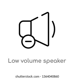 outline low volume speaker vector icon. isolated black simple line element illustration from music and media concept. editable vector stroke low volume speaker icon on white background