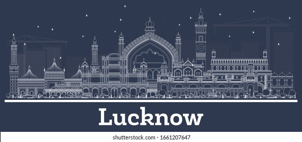 Outline Lucknow India City Skyline with White Buildings. Vector Illustration. Business Travel and Tourism Concept with Modern Architecture. Lucknow Cityscape with Landmarks.