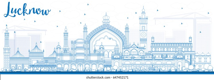 Outline Lucknow Skyline with Blue Buildings. Vector Illustration. Business Travel and Tourism Concept with Modern Architecture. Image for Presentation Banner Placard and Web Site.