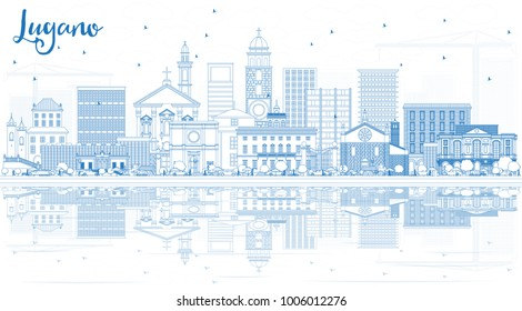 Outline Lugano Switzerland Skyline with Blue Buildings and Reflections. Vector Illustration. Business Travel and Tourism Illustration with Historic Architecture. Lugano Cityscape with Landmarks.