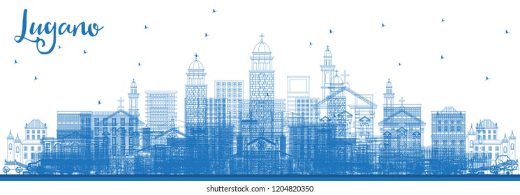 Outline Lugano Switzerland Skyline with Blue Buildings. Vector Illustration. Business Travel and Tourism Illustration with Historic Architecture. Lugano Cityscape with Landmarks.