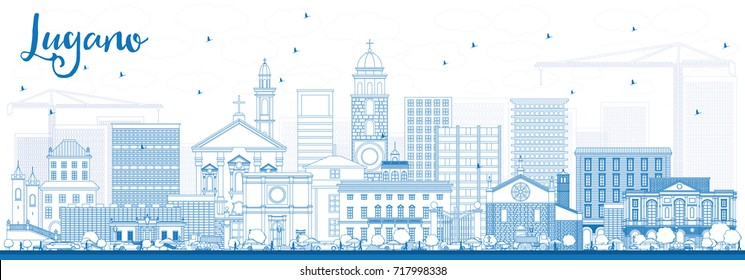 Outline Lugano Switzerland Skyline with Blue Buildings. Vector Illustration. Business Travel and Tourism Illustration with Historic Architecture.