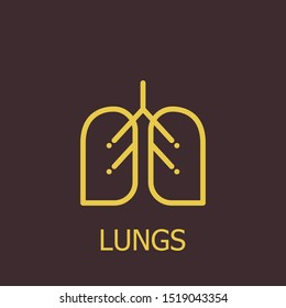 Outline lungs vector icon. Lungs illustration for web, mobile apps, design. Lungs vector symbol.