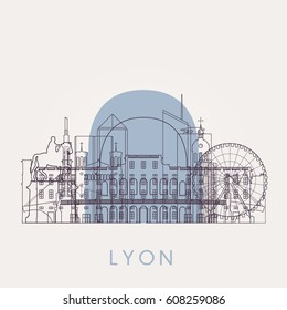 Outline Lyon vintage skyline with landmarks. Vector illustration. Business travel and tourism concept with historic buildings. Image for presentation, banner, placard and web site.