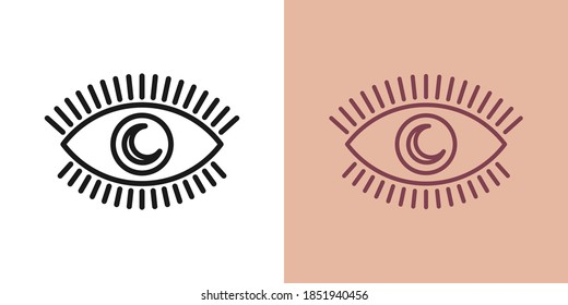 Outline magic eye icon with editable stroke. Linear eye with crescent iris, sweet dream. Night dream, magic sleep, eye with moon. Vector icon, sign, symbol for UI and Animation