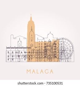 Outline Malaga skyline with landmarks. Vector illustration. Business travel and tourism concept with historic buildings. Image for presentation, banner, placard and web site.