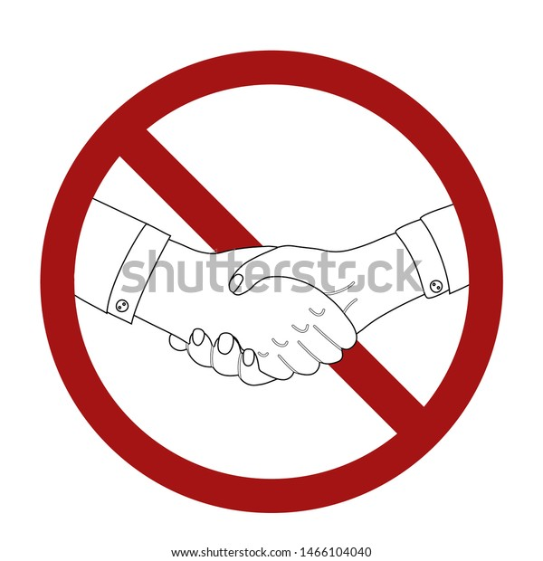 Outline man shaking hands in prohibition sign. Line art businessman in rivalry. War and confrontation. Ban on making a deal. Vector black and white illustration for articles, postcard and your design.