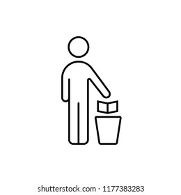 outline man with trash can. concept of hand throws away garbage to container for recycle. flat stroke style trend modern logotype graphic art lineart design element isolated on white background