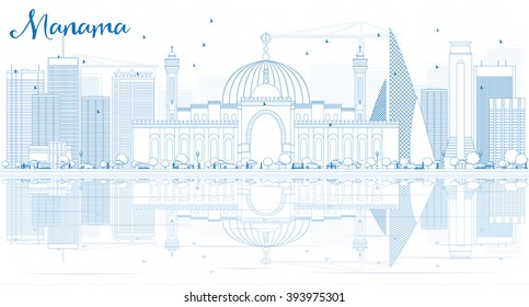 Outline Manama Skyline with Blue Buildings and Reflections. Vector Illustration. Business Travel and Tourism Concept with Modern Buildings. Image for Presentation Banner Placard and Web.
