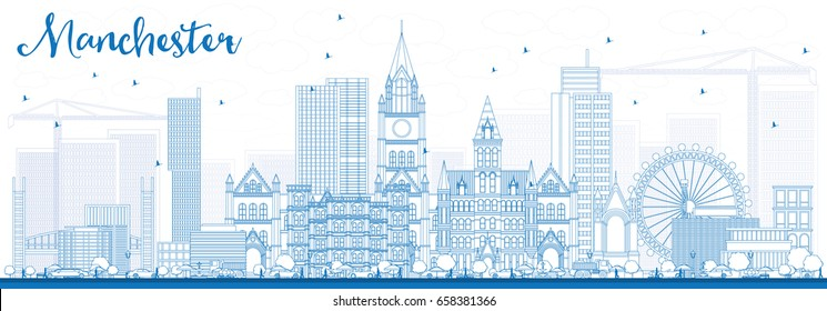 Outline Manchester Skyline with Blue Buildings. Vector Illustration. Business Travel and Tourism Concept with Modern Architecture. Image for Presentation Banner Placard and Web Site.