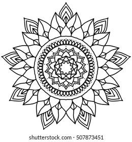 Outline Mandala. Decorative round ornament.
