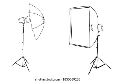Outline Manual Hand Draw Sketch Rectangle Softbox and Umbrella for Photography, Isolated on White