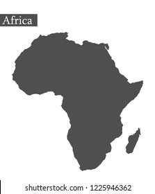 outline map of Africa in grey on white background in flat style vector with inscription: Africa