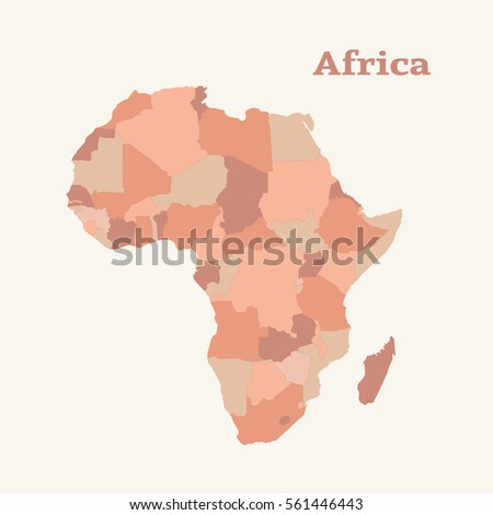 Outline Map Africa Isolated Vector Illustration Stock Vector ...