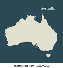 Outline map of Australia. Isolated vector illustration. Map of the Australian continent. Australia silhouette.