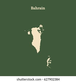 Outline map of Bahrain. Isolated vector illustration.