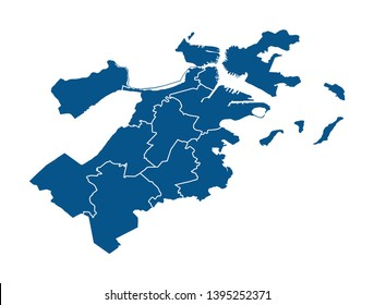 Outline map of Boston districts
