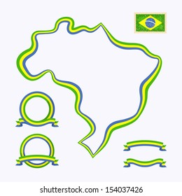 Outline map of Brazil. Border is marked with a ribbon in the national colors. The package contains a stamp with flag and frames. The file is made with no transparencies and gradients.