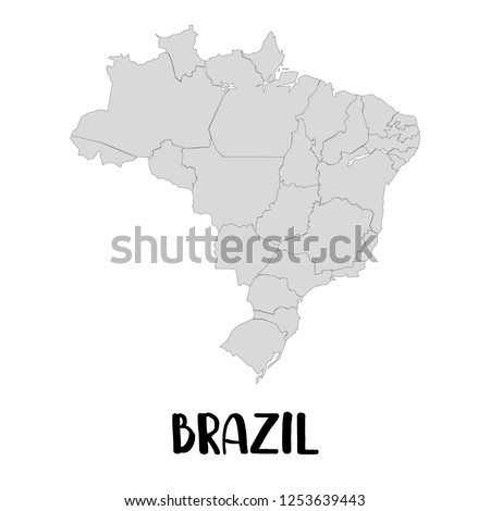 Outline Map Brazil Vector Icon Isolated Stock Vector Royalty Free