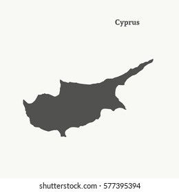 Outline map of Cyprus. Isolated vector illustration.