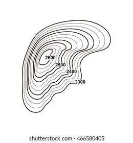 Outline map element. Vector contour map object. Topographic illustration.