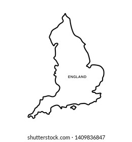Outline Map of England Vector Design Template. Editable Stroke